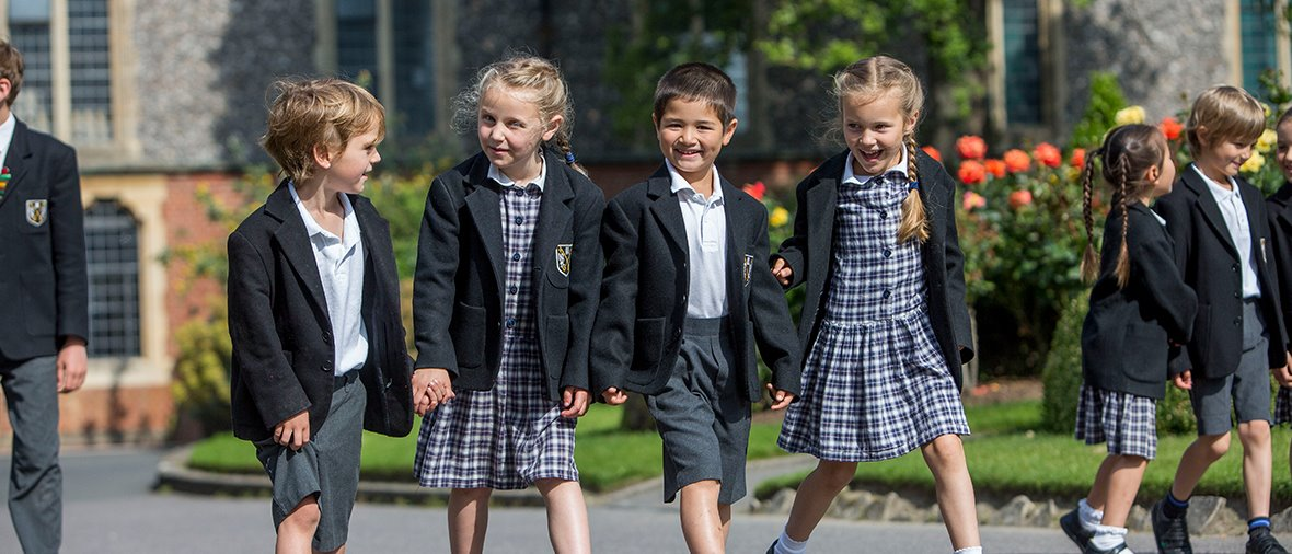 Pre-Prep & Prep co-ed pupils in quad